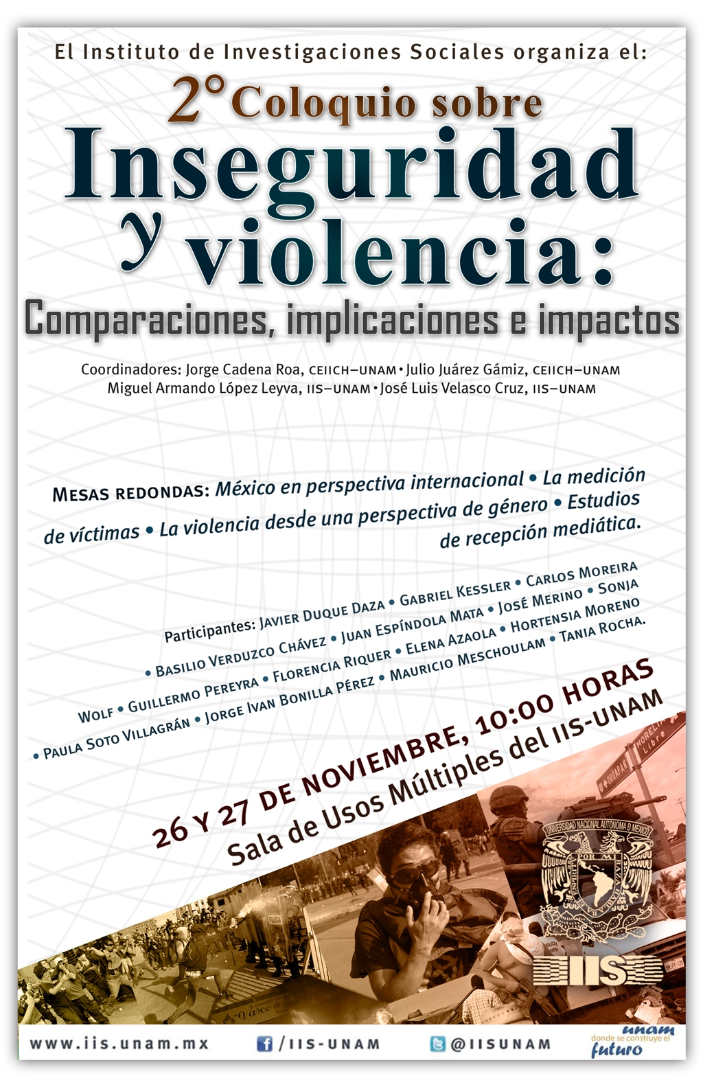 Cartel Segundo Coloquio Inseguridad y violencia