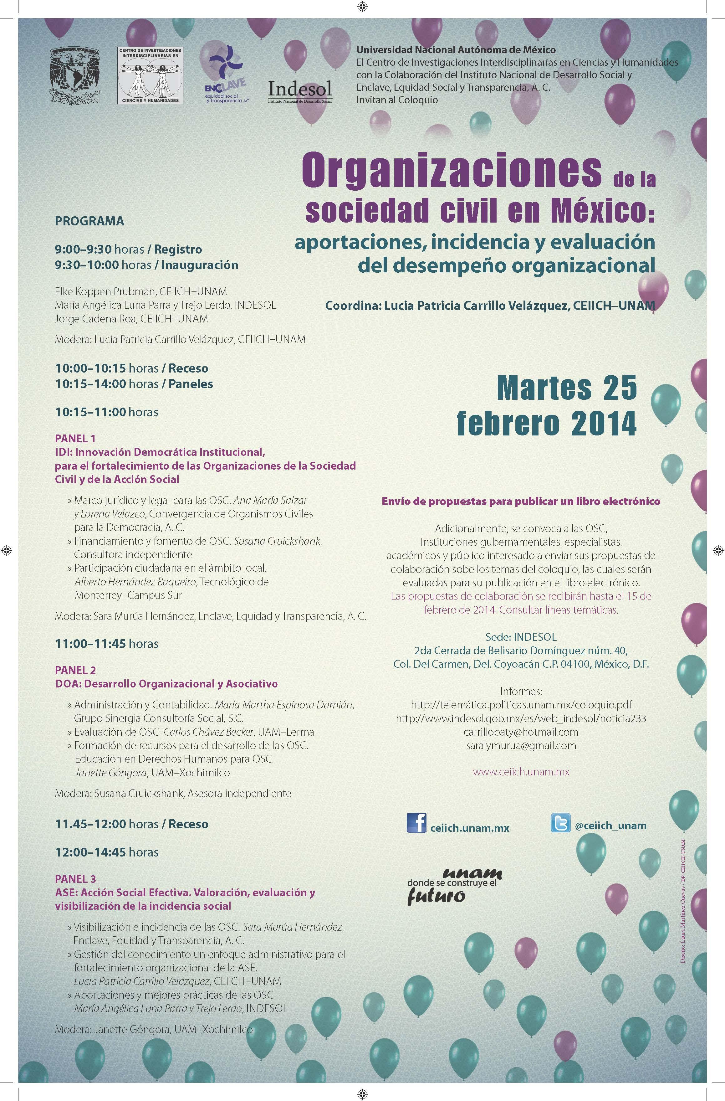 Cartel Coloquio Organizaciones de la Sociedad Civil en México