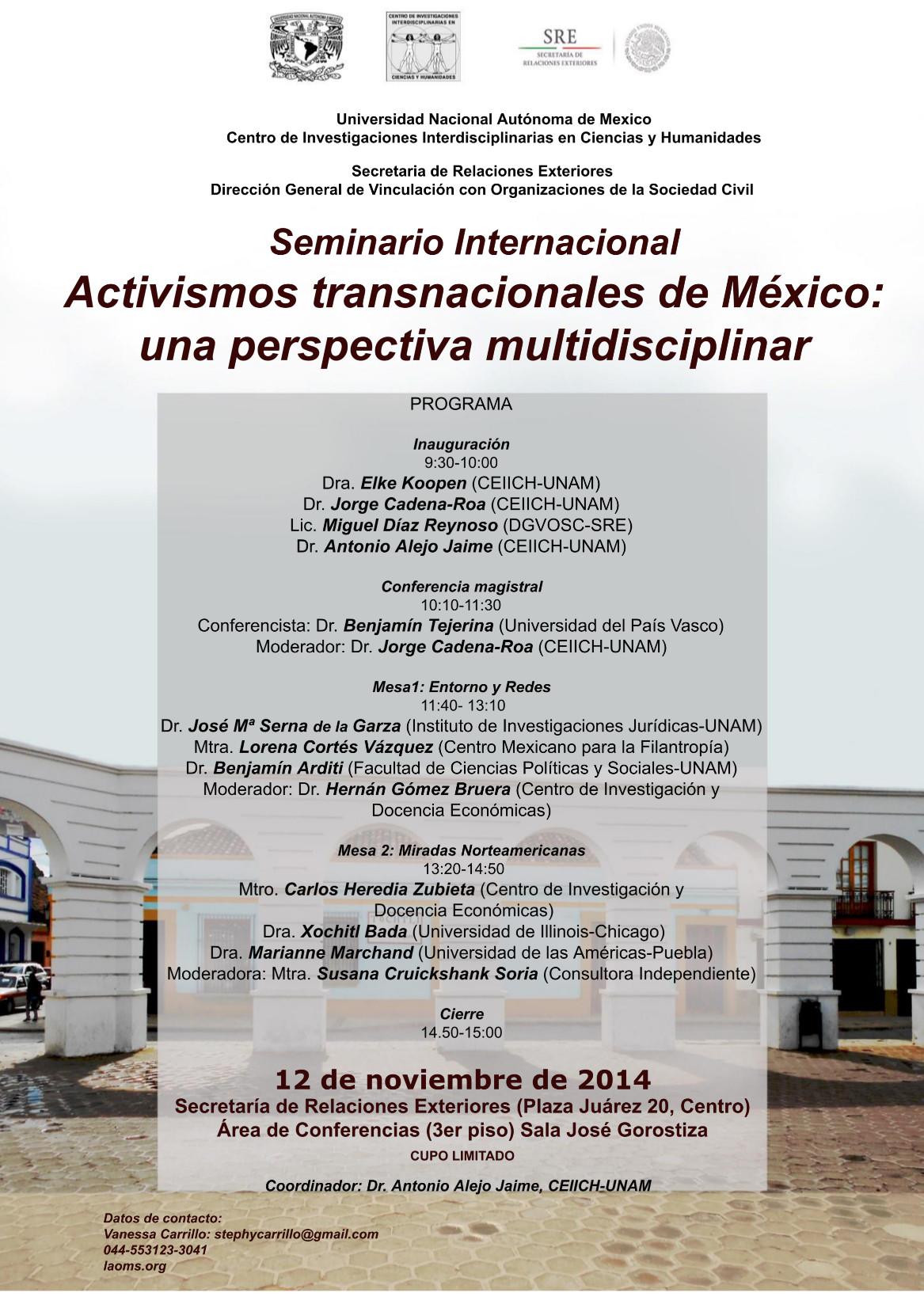 Activismos transnacionales de México UNAMCEIICH-SRE