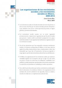 Cadena Roa, Jorge. 2016.  Las organizaciones de los movimientos sociales y los movimientos sociales en México, 2000-2014. México: Friedrich Ebert Stiftung (ISBN 978-607-7833-66-6).