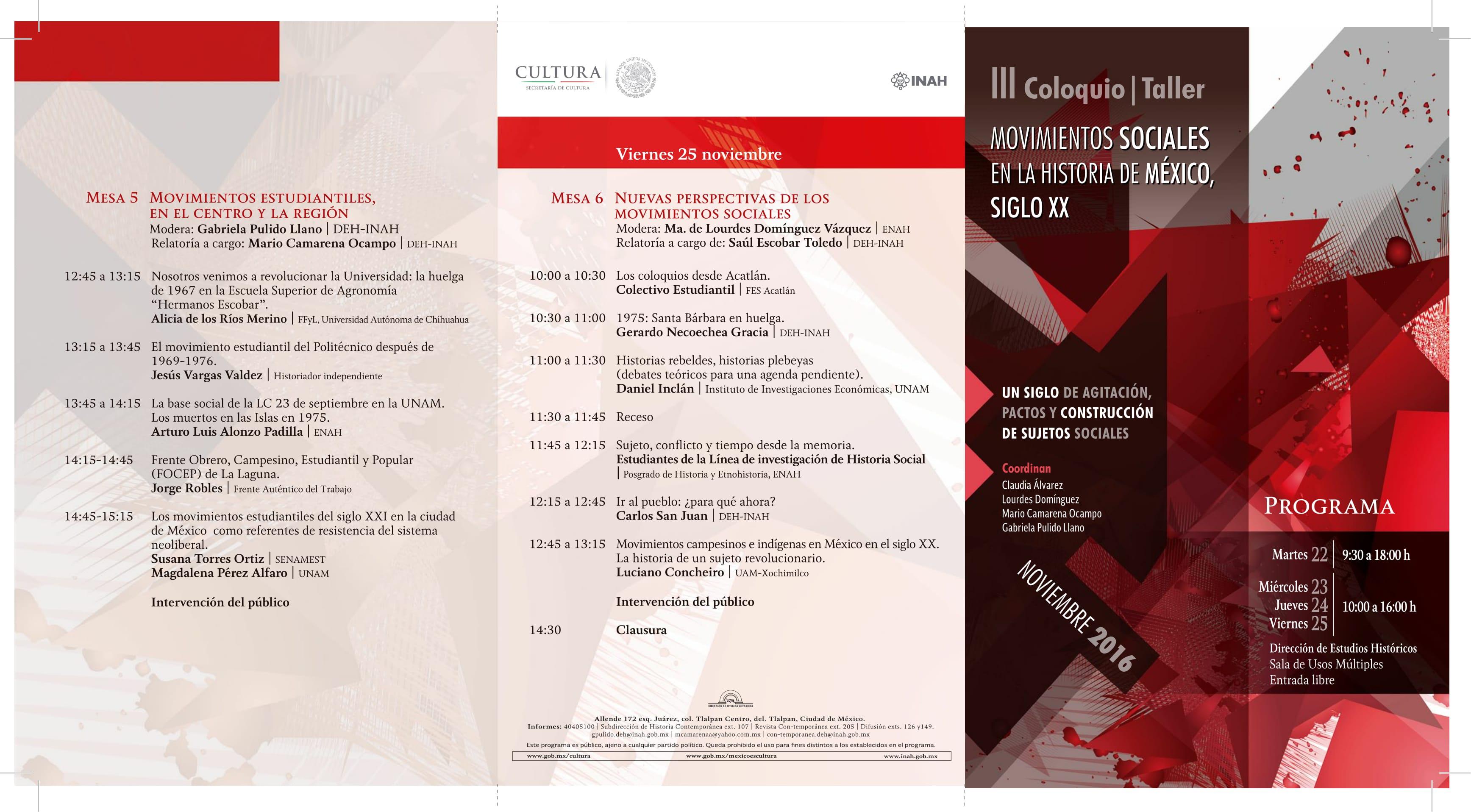 Programa III COLOQUIO/TALLER. MOVIMIENTOS SOCIALES EN LA HISTORIA DE MÉXICO, SIGLO XX - Frente
