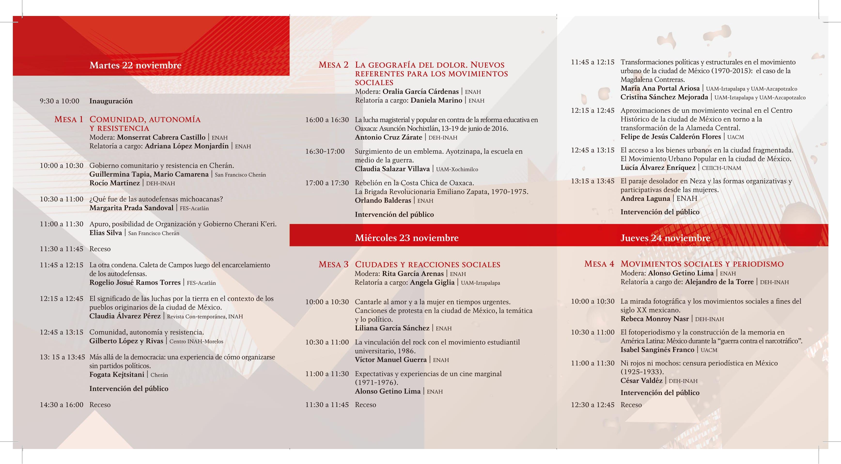 Programa III COLOQUIO/TALLER. MOVIMIENTOS SOCIALES EN LA HISTORIA DE MÉXICO, SIGLO XX - Vuelta