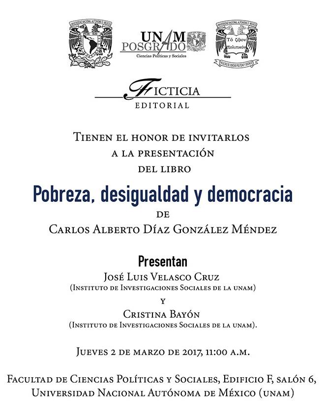 Presentacion del libro Carlos Díaz, Pobreza, desigualdad y democracia