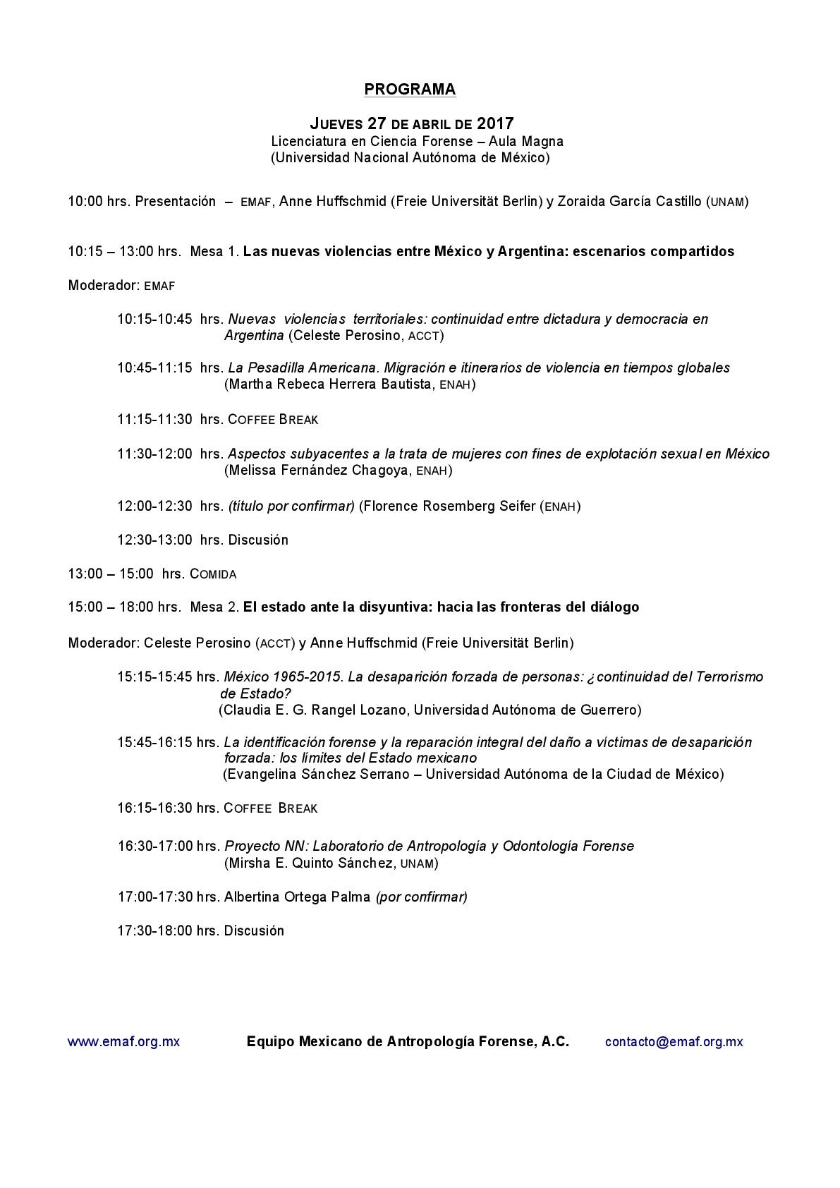 Programa 27 de abril. Primer Conversatorio Internacional: Respirando desde las entrañas de la violencia. Prácticas y reflexiones de la antropología forense entre México y Argentina