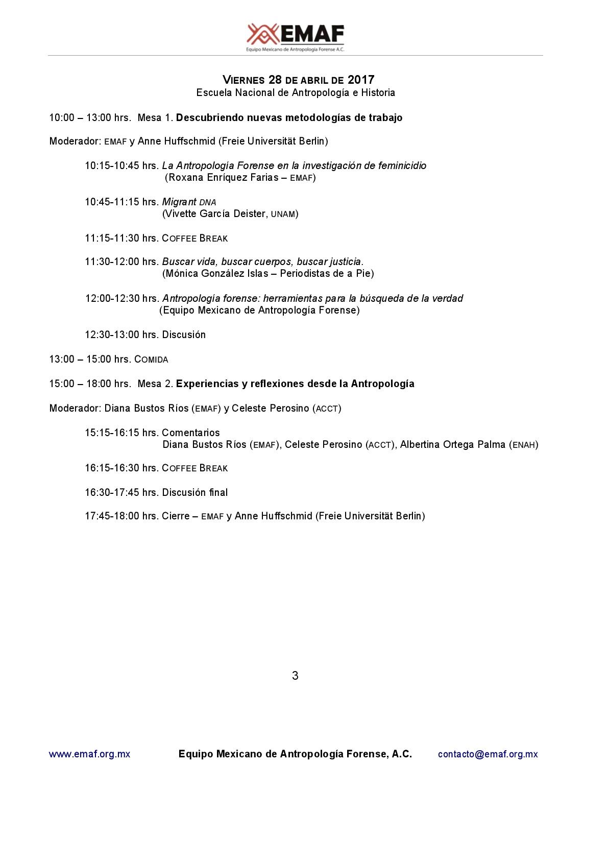 Programa 28 de abril. Primer Conversatorio Internacional: Respirando desde las entrañas de la violencia. Prácticas y reflexiones de la antropología forense entre México y Argentina
