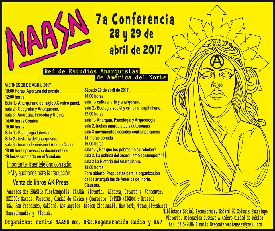 Séptima conferencia. Red de Estudios Anarquistas de América del Norte