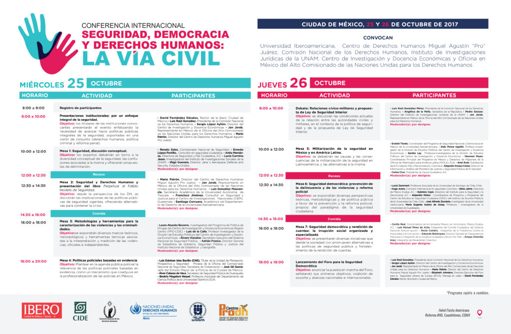 Programa. Seguridad, Democracia y Derechos Humanos