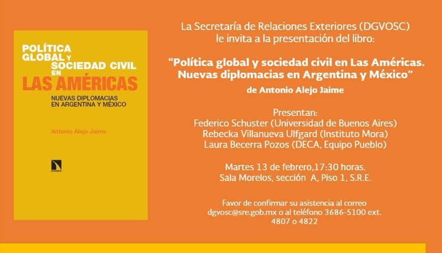 Presentación del libro: Política global y sociedad civil en Las Américas