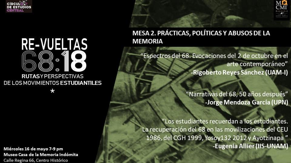 Mesa 2. Prácticas, política y abusos de la memoria. Miércoles 16 de mayo