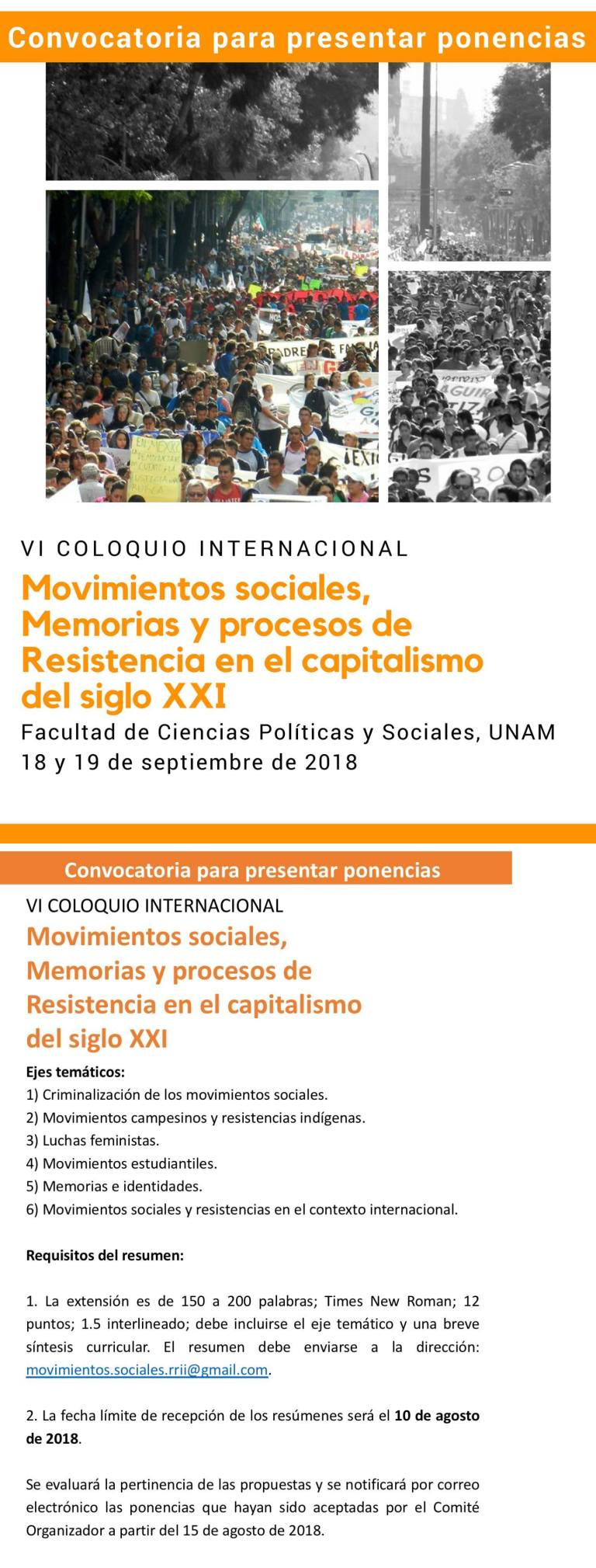 Convocatoria VI Congreso Internacional Movimientos sociales