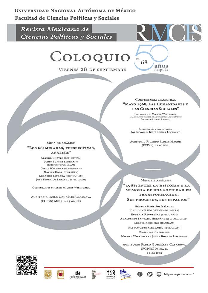 Cartel Coloquio: El 68 cincuenta años después