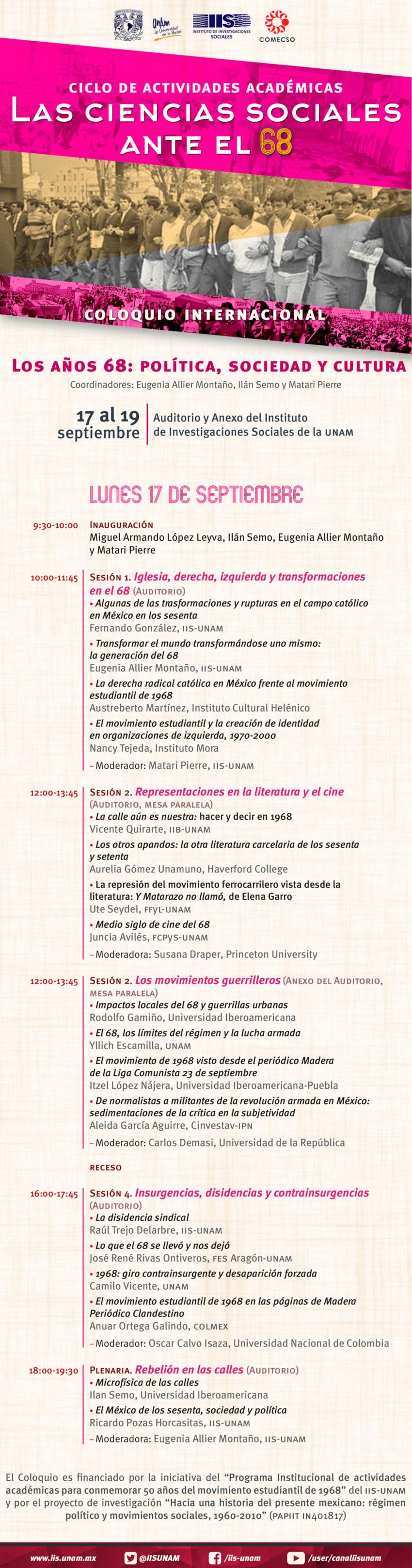 Programa 17 de septiembre. Los años 68: política, sociedad y cultura