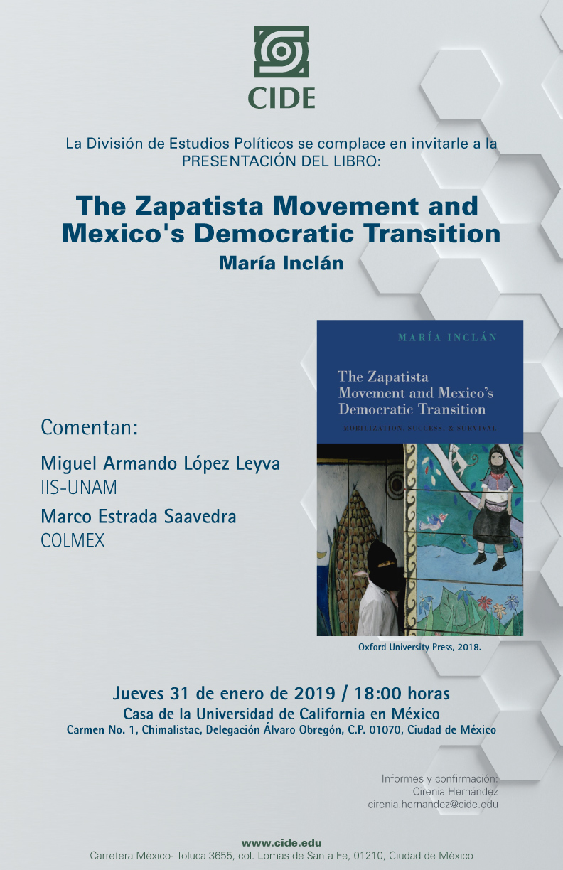 Cartel presentación del libro The Zapatista Movement and Mexico's Democratic Transition