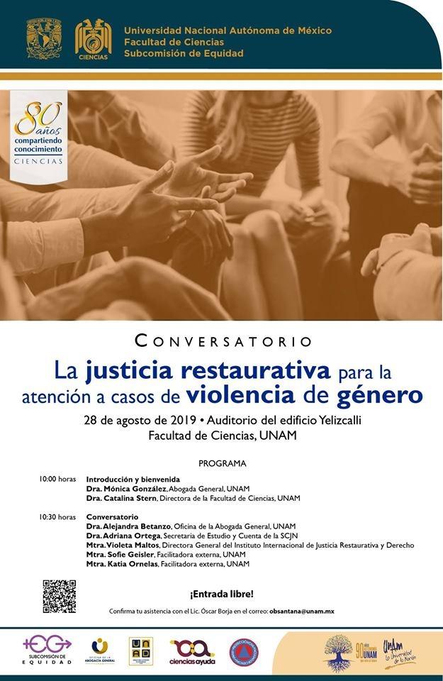 Cartel La justicia restaurativa para la atención a casos de violencia de género